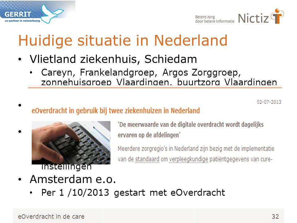 Huidige situatie in Nederland Vlietland ziekenhuis, Schiedam Careyn, Frankelandgroep, Argos Zorggroep, zonnehuisgroep Vlaardingen, buurtzorg Vlaardingen en Schiedam.
