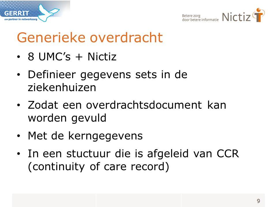 Generieke overdracht 8 UMC's + Nictiz Definieer gegevens sets in de ziekenhuizen Zodat een overdrachtsdocument kan worden gevuld Met de kerngegevens In een stuctuur die is afgeleid van CCR (continuity of care record) 9