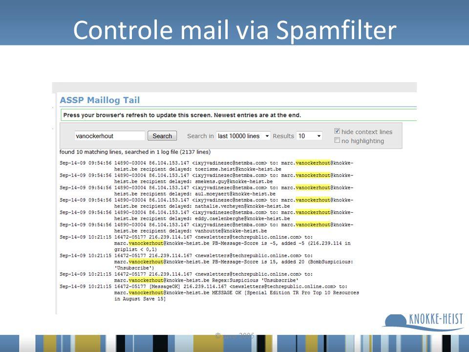 Controle mail via Spamfilter © mvo 2005
