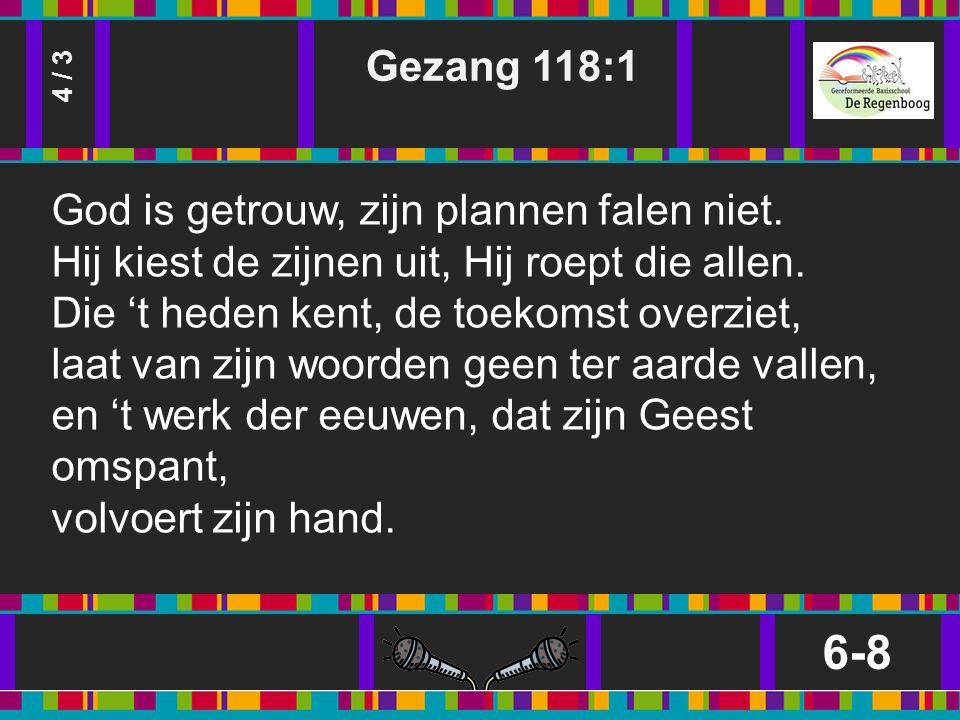 Gezang 118:1 6-8 4 / 3 God is getrouw, zijn plannen falen niet.