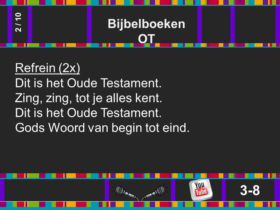 Bijbelboeken OT 3-8 2 / 10 Refrein (2x) Dit is het Oude Testament.