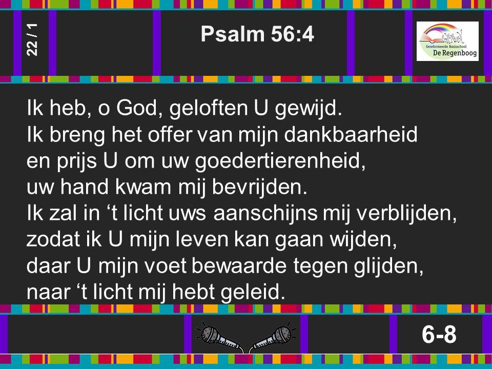 Psalm 56:4 6-8 22 / 1 Ik heb, o God, geloften U gewijd.