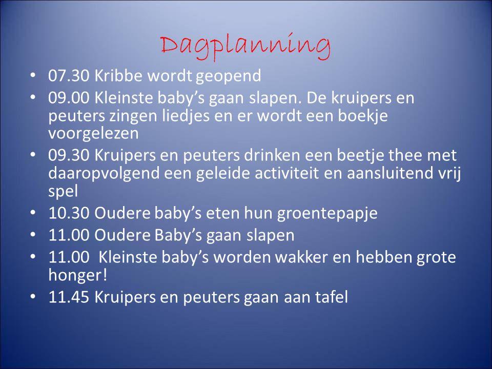 Dagplanning 07.30 Kribbe wordt geopend 09.00 Kleinste baby's gaan slapen.