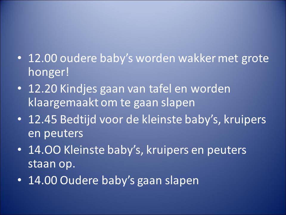 15.00 Kleinste baby's, kruipers en peuters eten hun 3-uurtje met aansluitend vrij spel.
