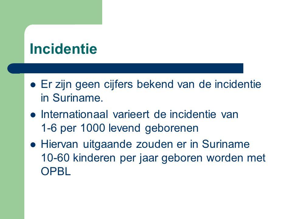 Incidentie Er zijn geen cijfers bekend van de incidentie in Suriname. Internationaal varieert de incidentie van 1-6 per 1000 levend geborenen Hiervan