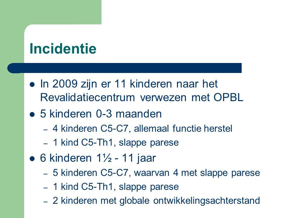 Incidentie In 2009 zijn er 11 kinderen naar het Revalidatiecentrum verwezen met OPBL 5 kinderen 0-3 maanden – 4 kinderen C5-C7, allemaal functie herstel – 1 kind C5-Th1, slappe parese 6 kinderen 1½ - 11 jaar – 5 kinderen C5-C7, waarvan 4 met slappe parese – 1 kind C5-Th1, slappe parese – 2 kinderen met globale ontwikkelingsachterstand
