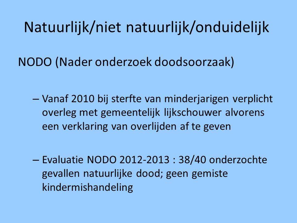 Natuurlijk/niet natuurlijk/onduidelijk NODO (Nader onderzoek doodsoorzaak) – Vanaf 2010 bij sterfte van minderjarigen verplicht overleg met gemeenteli