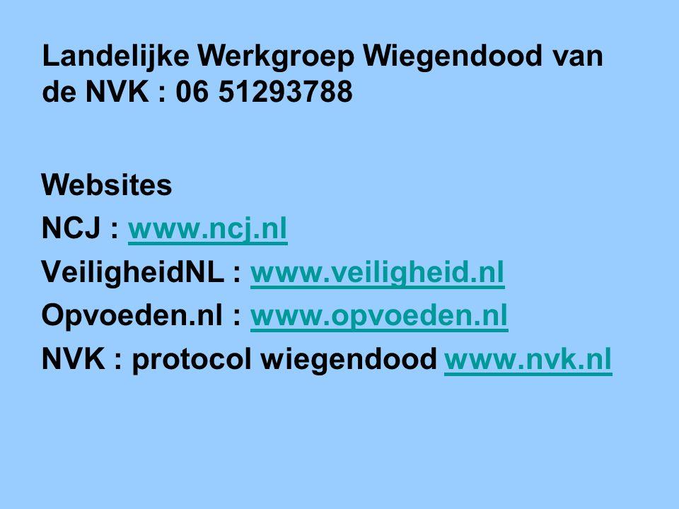 Landelijke Werkgroep Wiegendood van de NVK : 06 51293788 Websites NCJ : www.ncj.nlwww.ncj.nl VeiligheidNL : www.veiligheid.nlwww.veiligheid.nl Opvoede