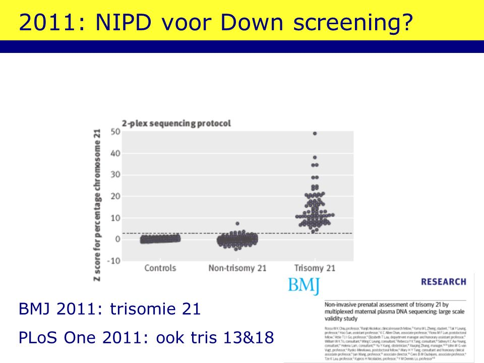 2011: NIPD voor Down screening BMJ 2011: trisomie 21 PLoS One 2011: ook tris 13&18