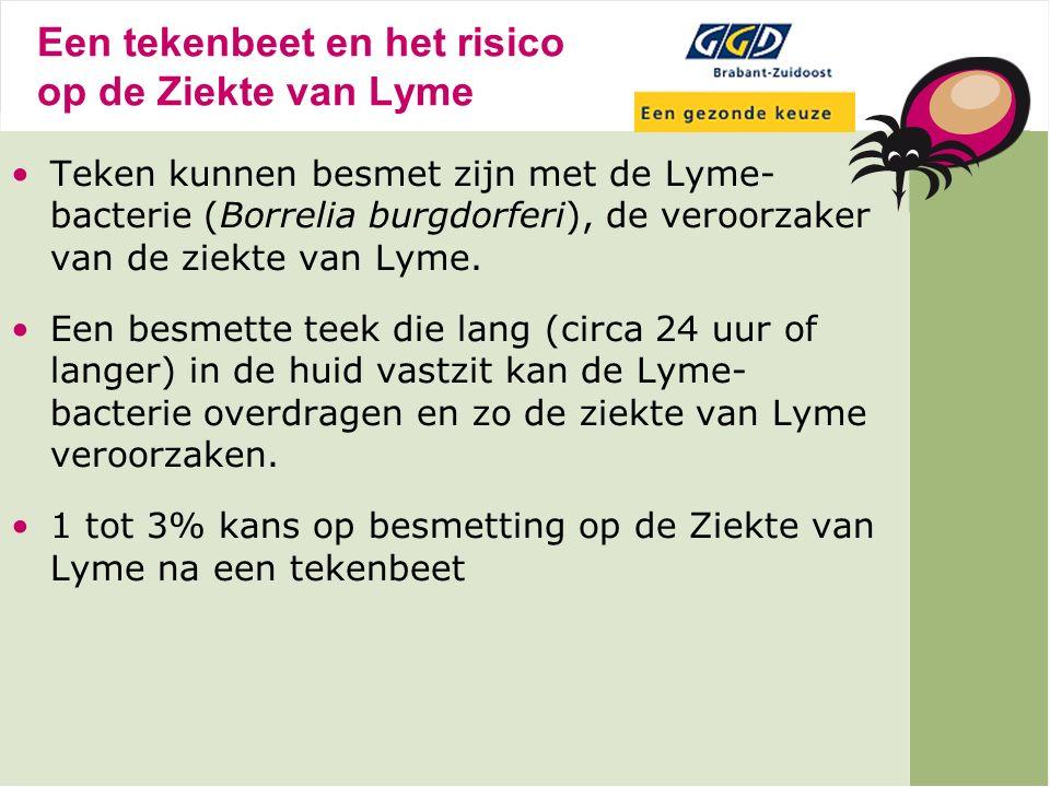 Besmette teken in Nederland Het aantal besmette teken in Nederland hangt heel erg af van het gebied, de begroeiing, het aantal besmette knaagdieren en de tekendichtheid.