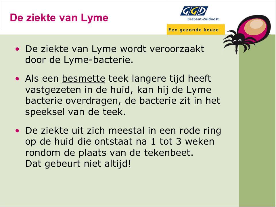 De ziekte van Lyme De ziekte van Lyme wordt veroorzaakt door de Lyme-bacterie.