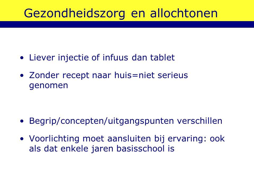 Gezondheidszorg en allochtonen Liever injectie of infuus dan tablet Zonder recept naar huis=niet serieus genomen Begrip/concepten/uitgangspunten versc
