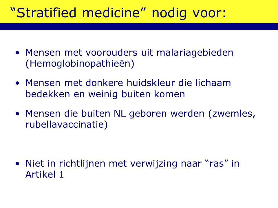 """""""Stratified medicine"""" nodig voor: Mensen met voorouders uit malariagebieden (Hemoglobinopathieën) Mensen met donkere huidskleur die lichaam bedekken e"""