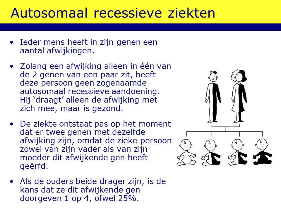Autosomaal recessieve ziekten Ieder mens heeft in zijn genen een aantal afwijkingen. Zolang een afwijking alleen in één van de 2 genen van een paar zi