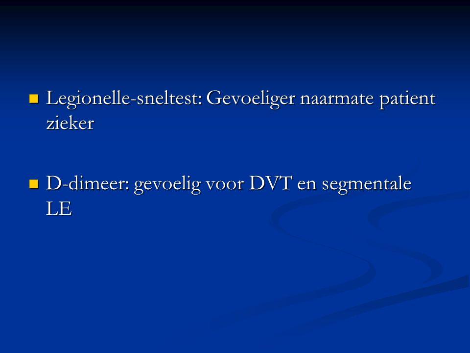 Legionelle-sneltest: Gevoeliger naarmate patient zieker Legionelle-sneltest: Gevoeliger naarmate patient zieker D-dimeer: gevoelig voor DVT en segmentale LE D-dimeer: gevoelig voor DVT en segmentale LE