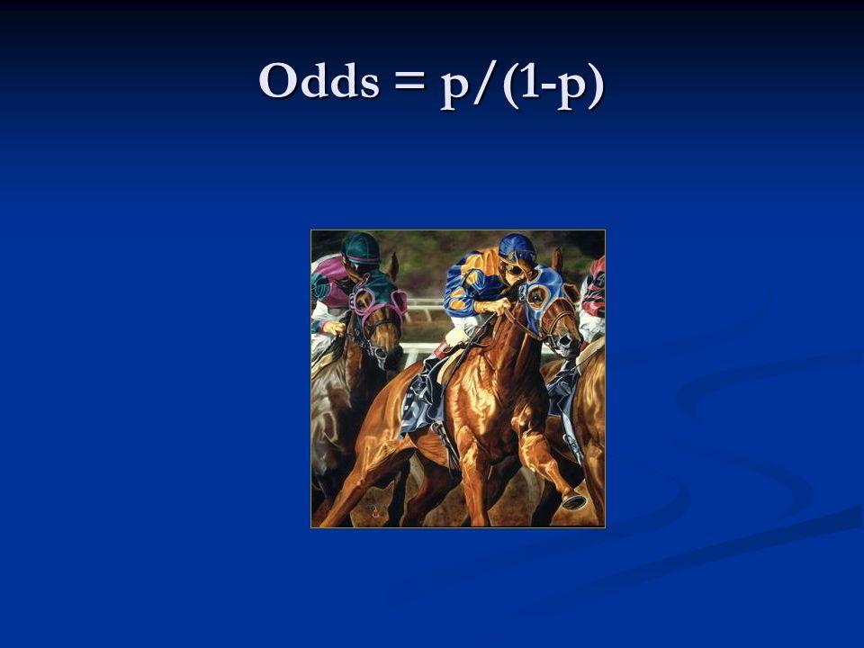 Odds = p/(1-p)