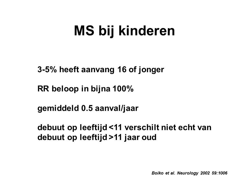 Boiko et al. Neurology 2002 59:1006 MS bij kinderen 3-5% heeft aanvang 16 of jonger RR beloop in bijna 100% gemiddeld 0.5 aanval/jaar debuut op leefti