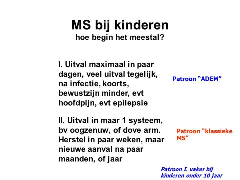MS bij kinderen hoe begin het meestal? I. Uitval maximaal in paar dagen, veel uitval tegelijk, na infectie, koorts, bewustzijn minder, evt hoofdpijn,