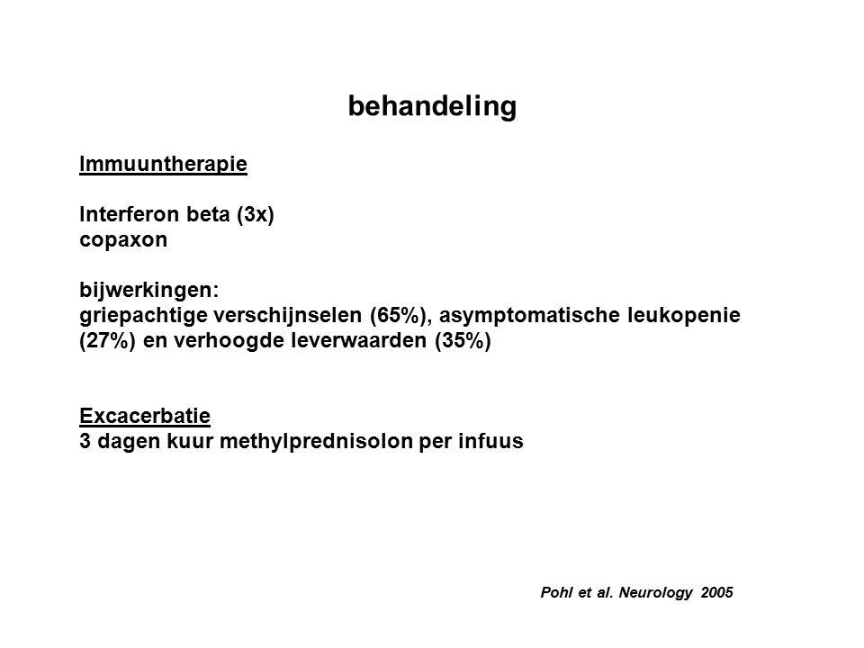 Pohl et al. Neurology 2005 behandeling Immuuntherapie Interferon beta (3x) copaxon bijwerkingen: griepachtige verschijnselen (65%), asymptomatische le