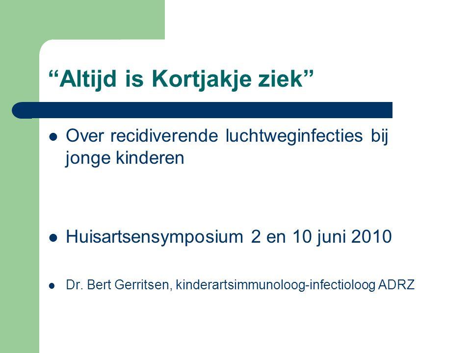 """""""Altijd is Kortjakje ziek"""" Over recidiverende luchtweginfecties bij jonge kinderen Huisartsensymposium 2 en 10 juni 2010 Dr. Bert Gerritsen, kinderart"""