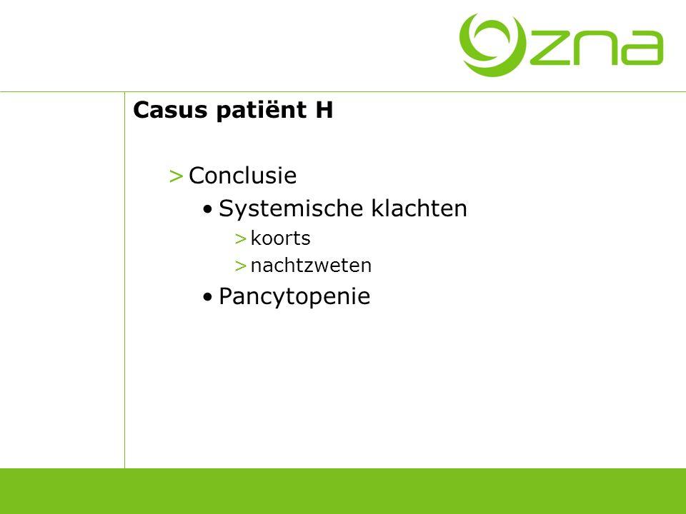 Casus patiënt D >Laboratoriumonderzoek: Bilirubine0,4 mg/dl(0,2-1,3) LDH689 U/l(313-618) Haptoglobine41,3 mg/dl(30-200) As erythrocyten: negatief CRP3,3 mg/dl(<0,5) Fibrinogeen6,91 g/l(2,00-4,00) TSH0,59 μU/ml(0,47-4,70)