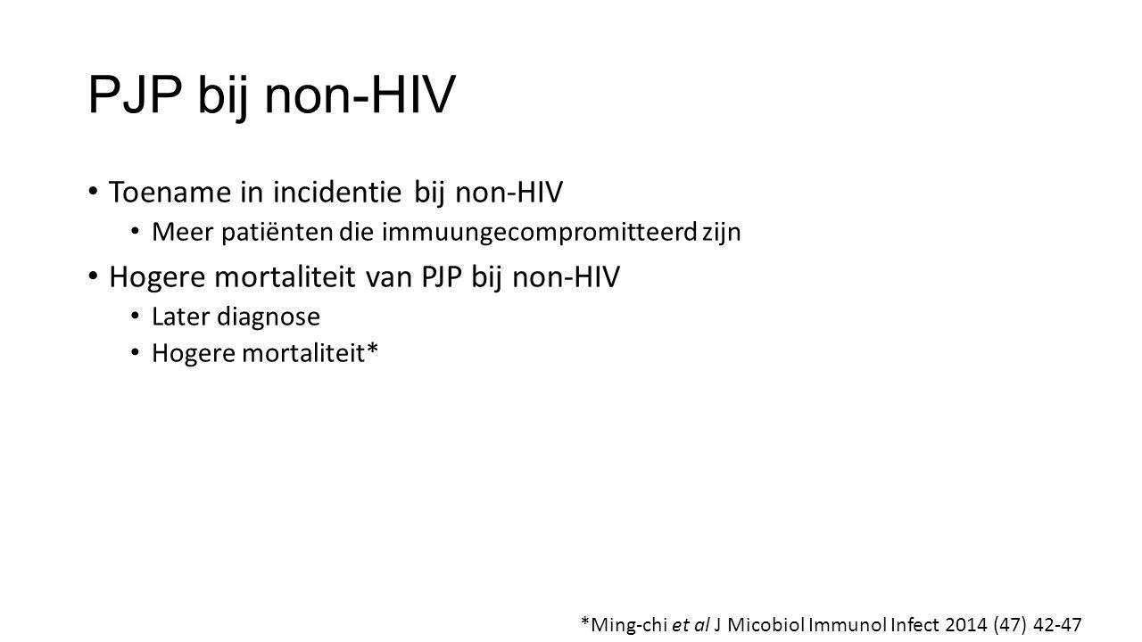 PJP bij non-HIV Toename in incidentie bij non-HIV Meer patiënten die immuungecompromitteerd zijn Hogere mortaliteit van PJP bij non-HIV Later diagnose