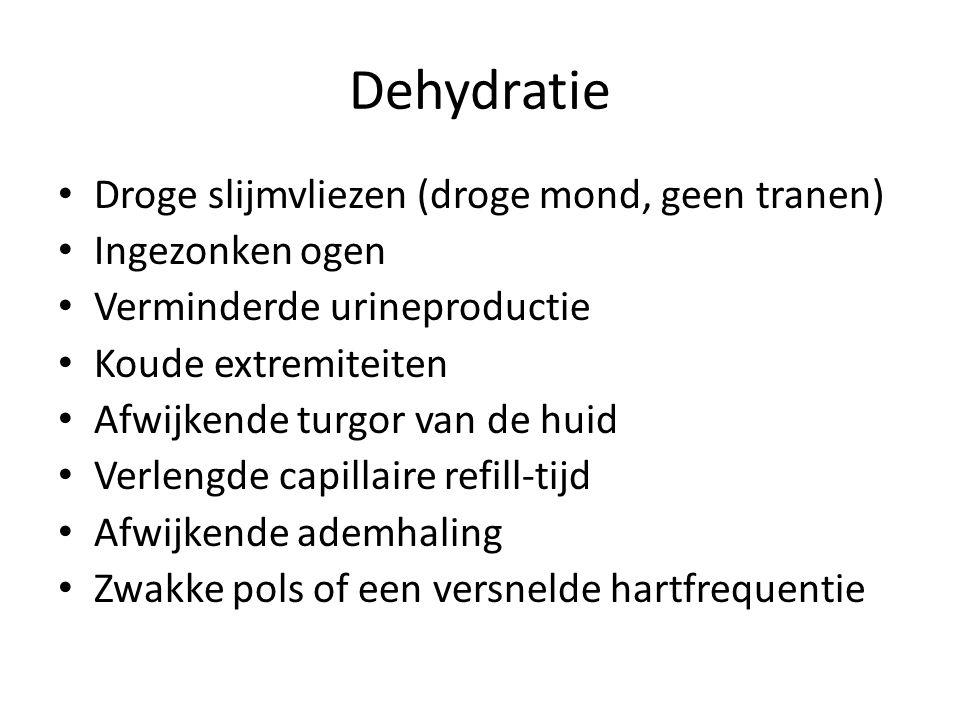 Dehydratie Droge slijmvliezen (droge mond, geen tranen) Ingezonken ogen Verminderde urineproductie Koude extremiteiten Afwijkende turgor van de huid V