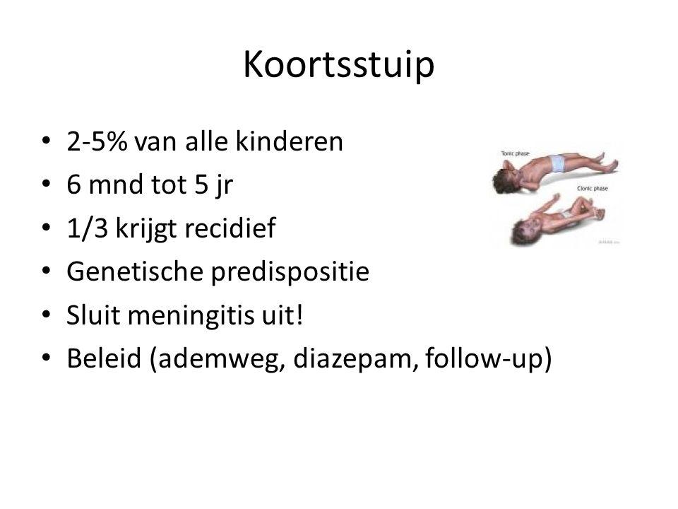 Koortsstuip 2-5% van alle kinderen 6 mnd tot 5 jr 1/3 krijgt recidief Genetische predispositie Sluit meningitis uit! Beleid (ademweg, diazepam, follow