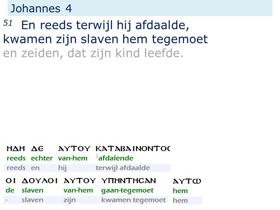Johannes 4 51 En reeds terwijl hij afdaalde, kwamen zijn slaven hem tegemoet en zeiden, dat zijn kind leefde.