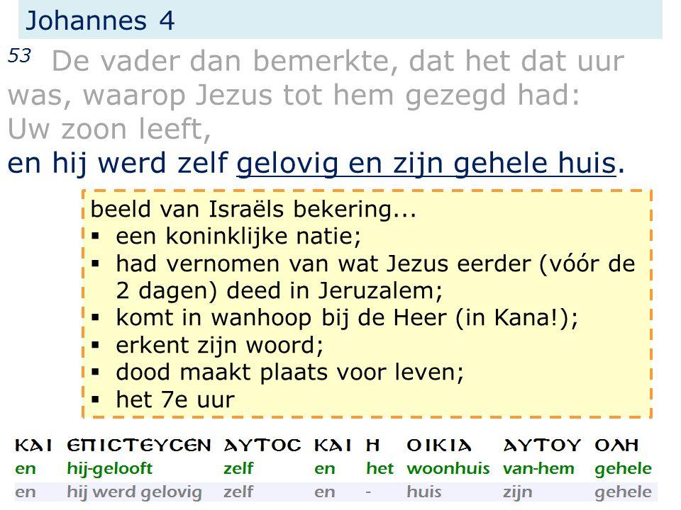 Johannes 4 53 De vader dan bemerkte, dat het dat uur was, waarop Jezus tot hem gezegd had: Uw zoon leeft, en hij werd zelf gelovig en zijn gehele huis.