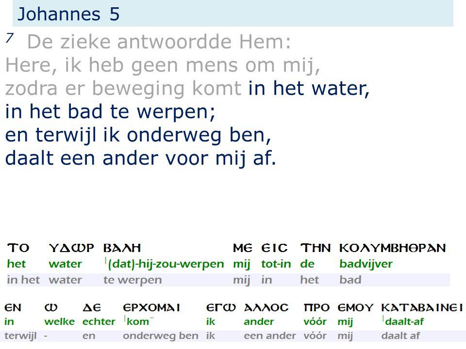 Johannes 5 7 De zieke antwoordde Hem: Here, ik heb geen mens om mij, zodra er beweging komt in het water, in het bad te werpen; en terwijl ik onderweg ben, daalt een ander voor mij af.