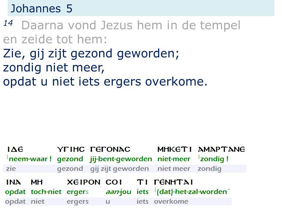 Johannes 5 14 Daarna vond Jezus hem in de tempel en zeide tot hem: Zie, gij zijt gezond geworden; zondig niet meer, opdat u niet iets ergers overkome.