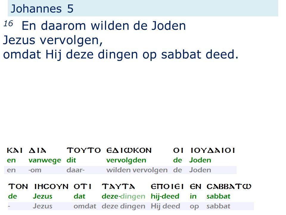 Johannes 5 16 En daarom wilden de Joden Jezus vervolgen, omdat Hij deze dingen op sabbat deed.