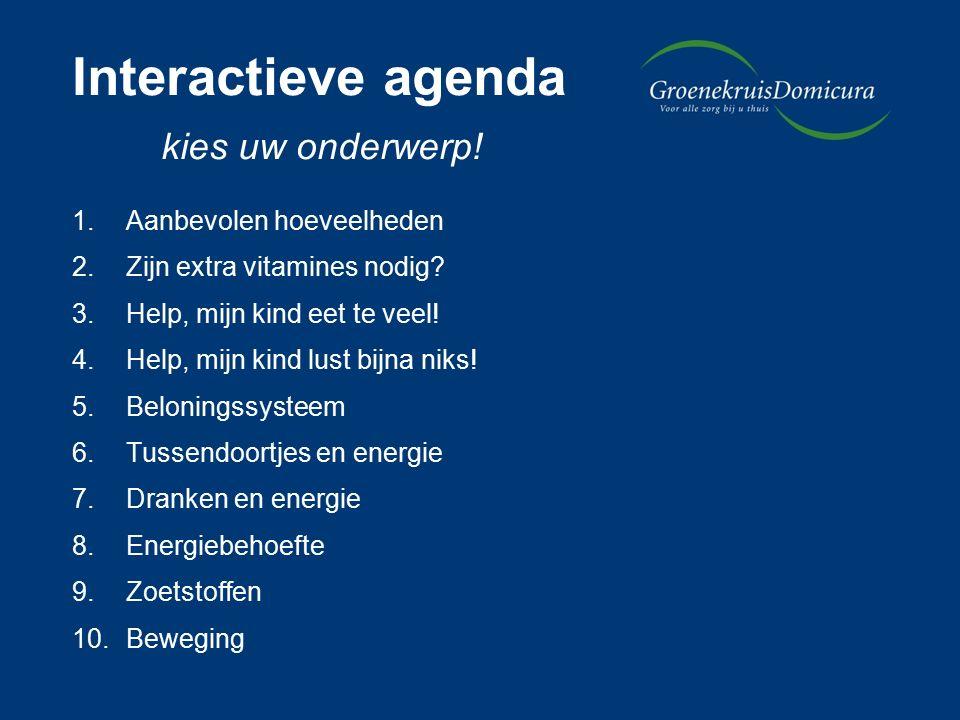 Interactieve agenda kies uw onderwerp. 1.Aanbevolen hoeveelheden 2.Zijn extra vitamines nodig.