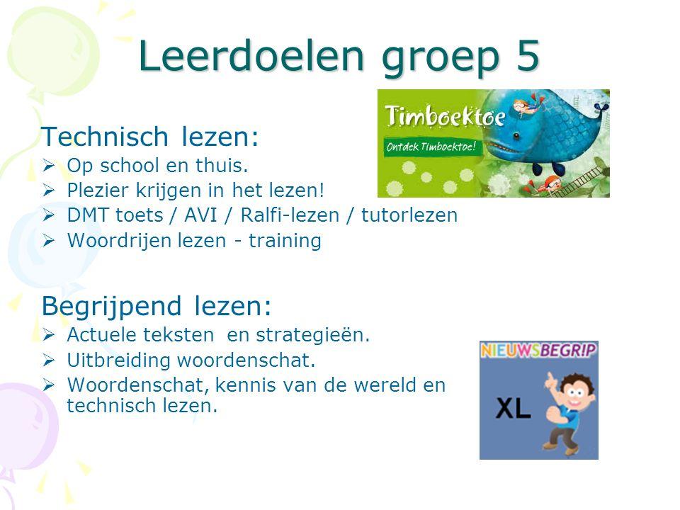 Leerdoelen groep 5 Technisch lezen:  Op school en thuis.