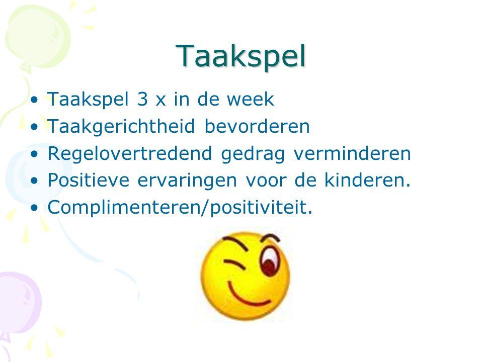 Taakspel Taakspel 3 x in de week Taakgerichtheid bevorderen Regelovertredend gedrag verminderen Positieve ervaringen voor de kinderen.