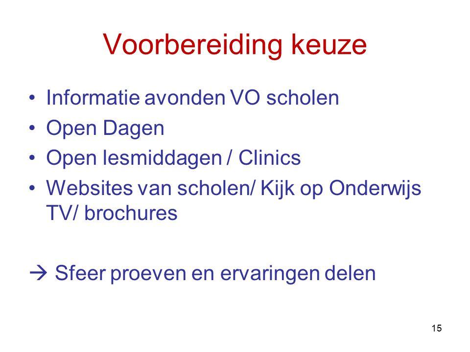 Voorbereiding keuze Informatie avonden VO scholen Open Dagen Open lesmiddagen / Clinics Websites van scholen/ Kijk op Onderwijs TV/ brochures  Sfeer
