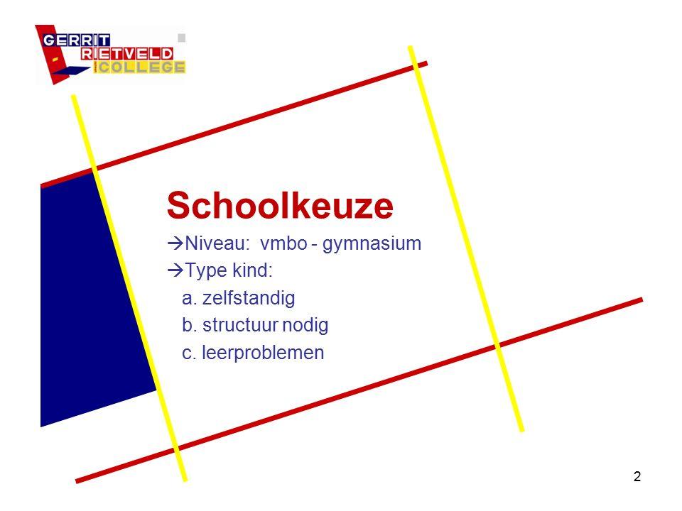 2 Schoolkeuze  Niveau: vmbo - gymnasium  Type kind: a. zelfstandig b. structuur nodig c. leerproblemen