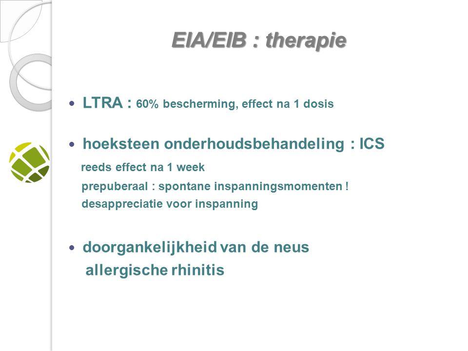 LTRA : 60% bescherming, effect na 1 dosis hoeksteen onderhoudsbehandeling : ICS reeds effect na 1 week prepuberaal : spontane inspanningsmomenten .