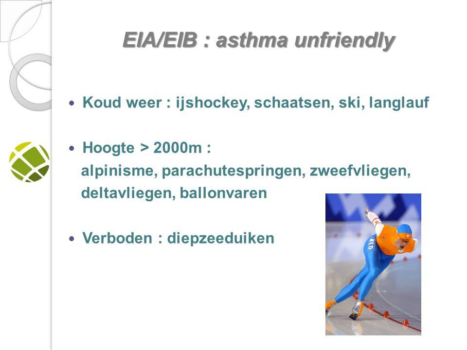 Koud weer : ijshockey, schaatsen, ski, langlauf Hoogte > 2000m : alpinisme, parachutespringen, zweefvliegen, deltavliegen, ballonvaren Verboden : diepzeeduiken EIA/EIB : asthma unfriendly EIA/EIB : asthma unfriendly