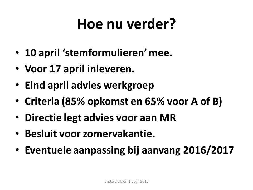 Hoe nu verder. 10 april 'stemformulieren' mee. Voor 17 april inleveren.