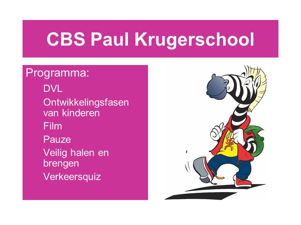Programma: DVL Ontwikkelingsfasen van kinderen Film Pauze Veilig halen en brengen Verkeersquiz