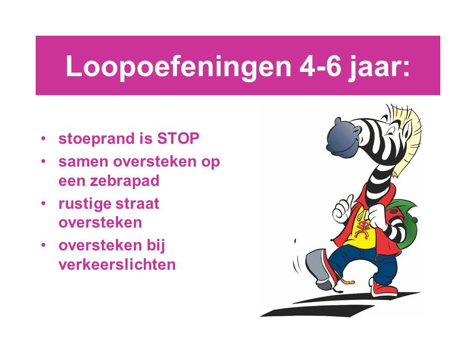 Loopoefeningen 4-6 jaar: stoeprand is STOP samen oversteken op een zebrapad rustige straat oversteken oversteken bij verkeerslichten