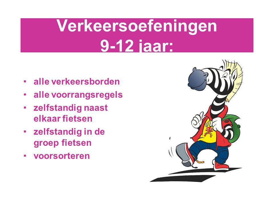 Verkeersoefeningen 9-12 jaar: alle verkeersborden alle voorrangsregels zelfstandig naast elkaar fietsen zelfstandig in de groep fietsen voorsorteren