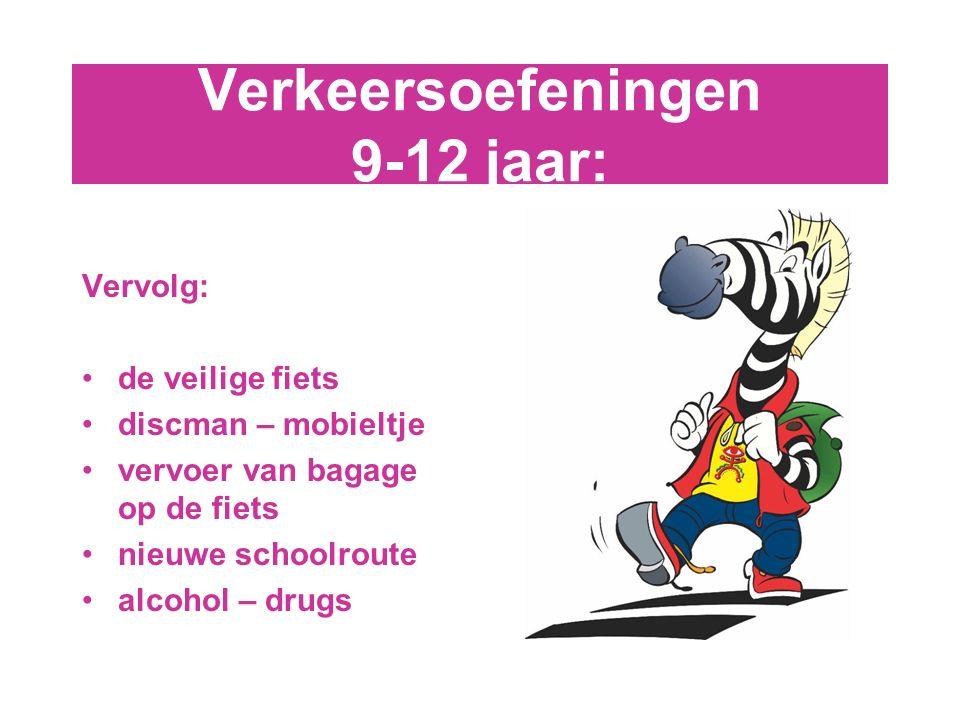 Verkeersoefeningen 9-12 jaar: Vervolg: de veilige fiets discman – mobieltje vervoer van bagage op de fiets nieuwe schoolroute alcohol – drugs