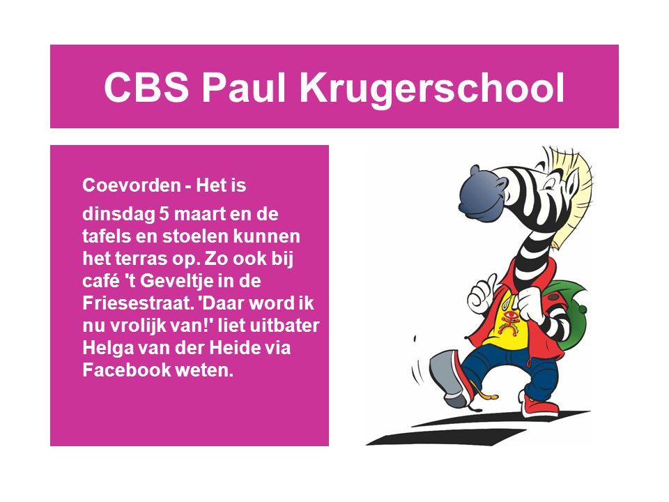 CBS Paul Krugerschool Coevorden - Het is dinsdag 5 maart en de tafels en stoelen kunnen het terras op.
