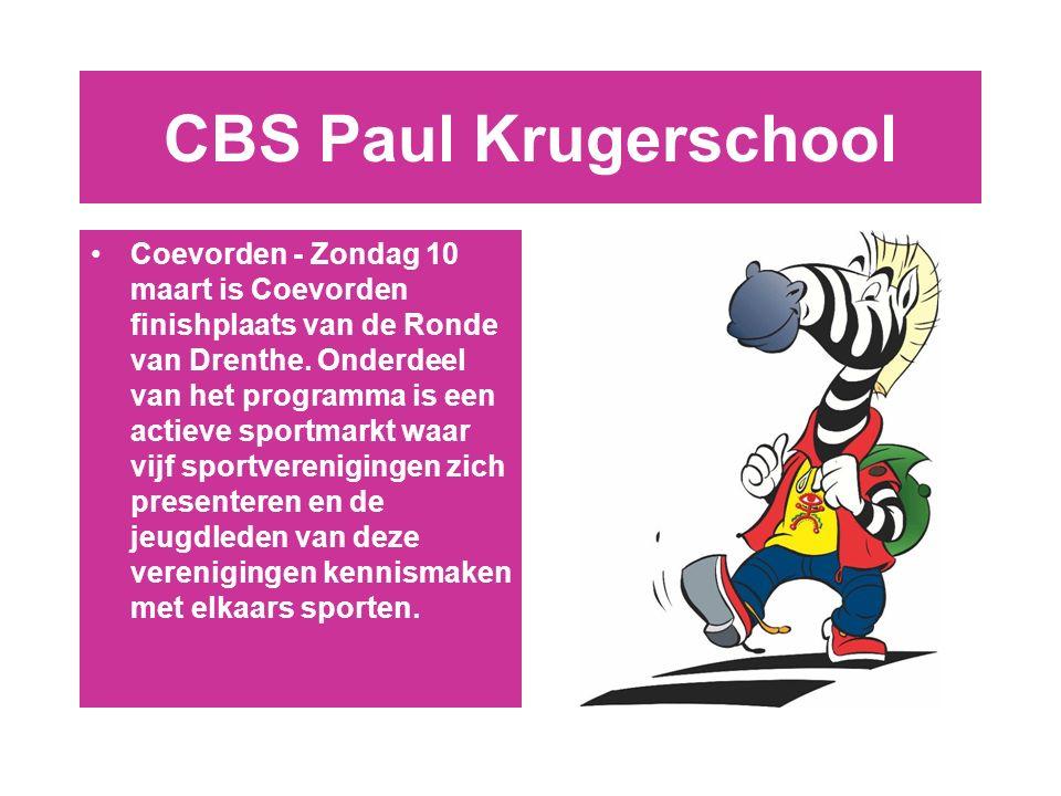 CBS Paul Krugerschool Coevorden - Zondag 10 maart is Coevorden finishplaats van de Ronde van Drenthe.