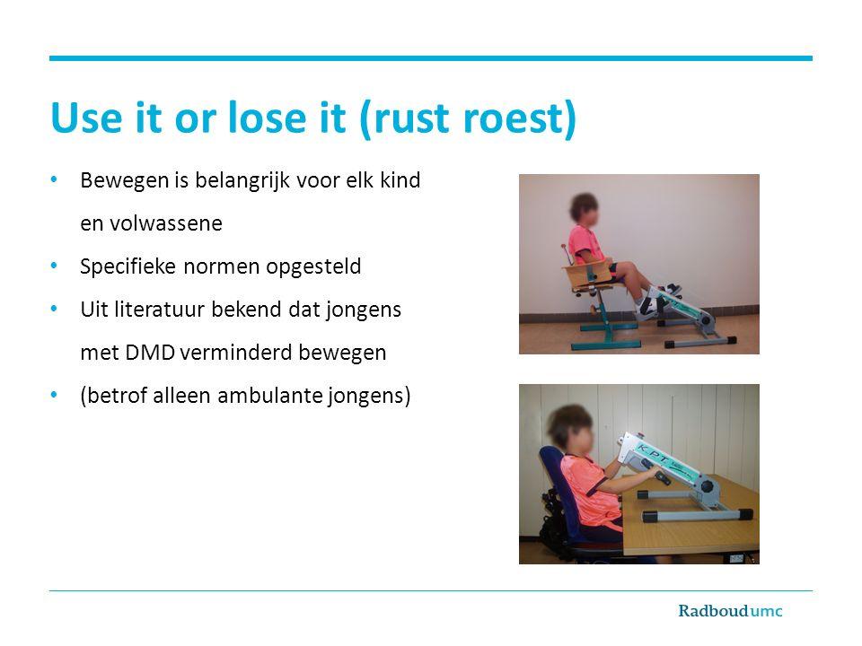 Use it or lose it (rust roest) Bewegen is belangrijk voor elk kind en volwassene Specifieke normen opgesteld Uit literatuur bekend dat jongens met DMD verminderd bewegen (betrof alleen ambulante jongens)
