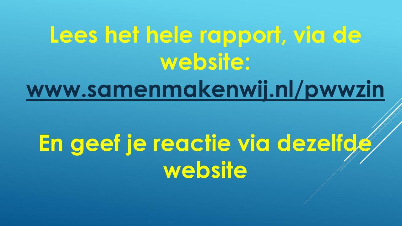 Lees het hele rapport, via de website: www.samenmakenwij.nl/pwwzin www.samenmakenwij.nl/pwwzin En geef je reactie via dezelfde website