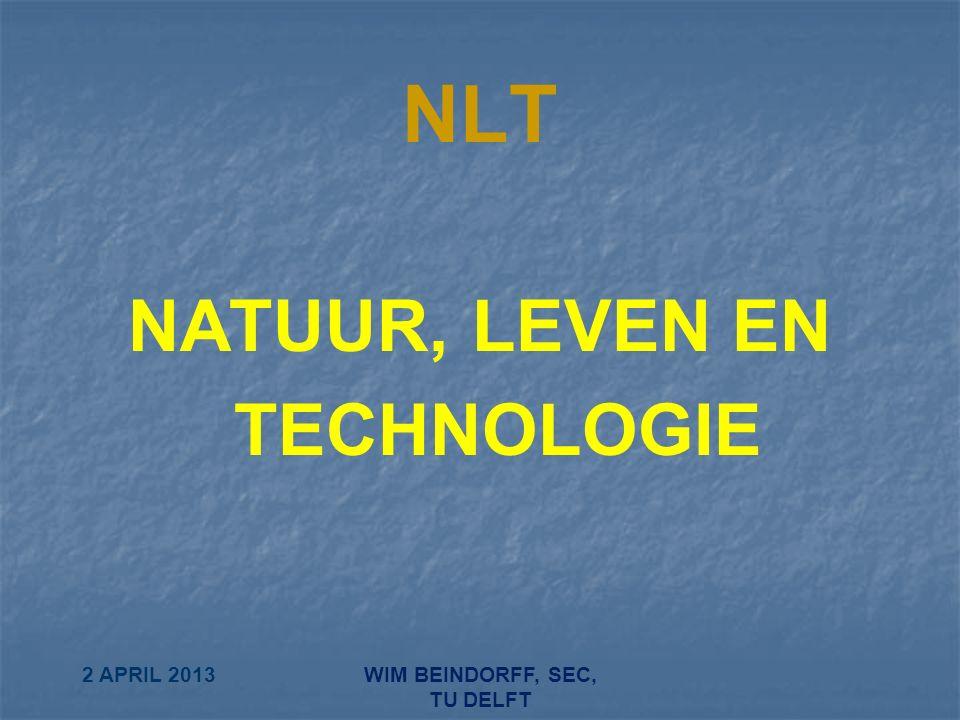 2 APRIL 2013WIM BEINDORFF, SEC, TU DELFT NLT NATUUR, LEVEN EN TECHNOLOGIE